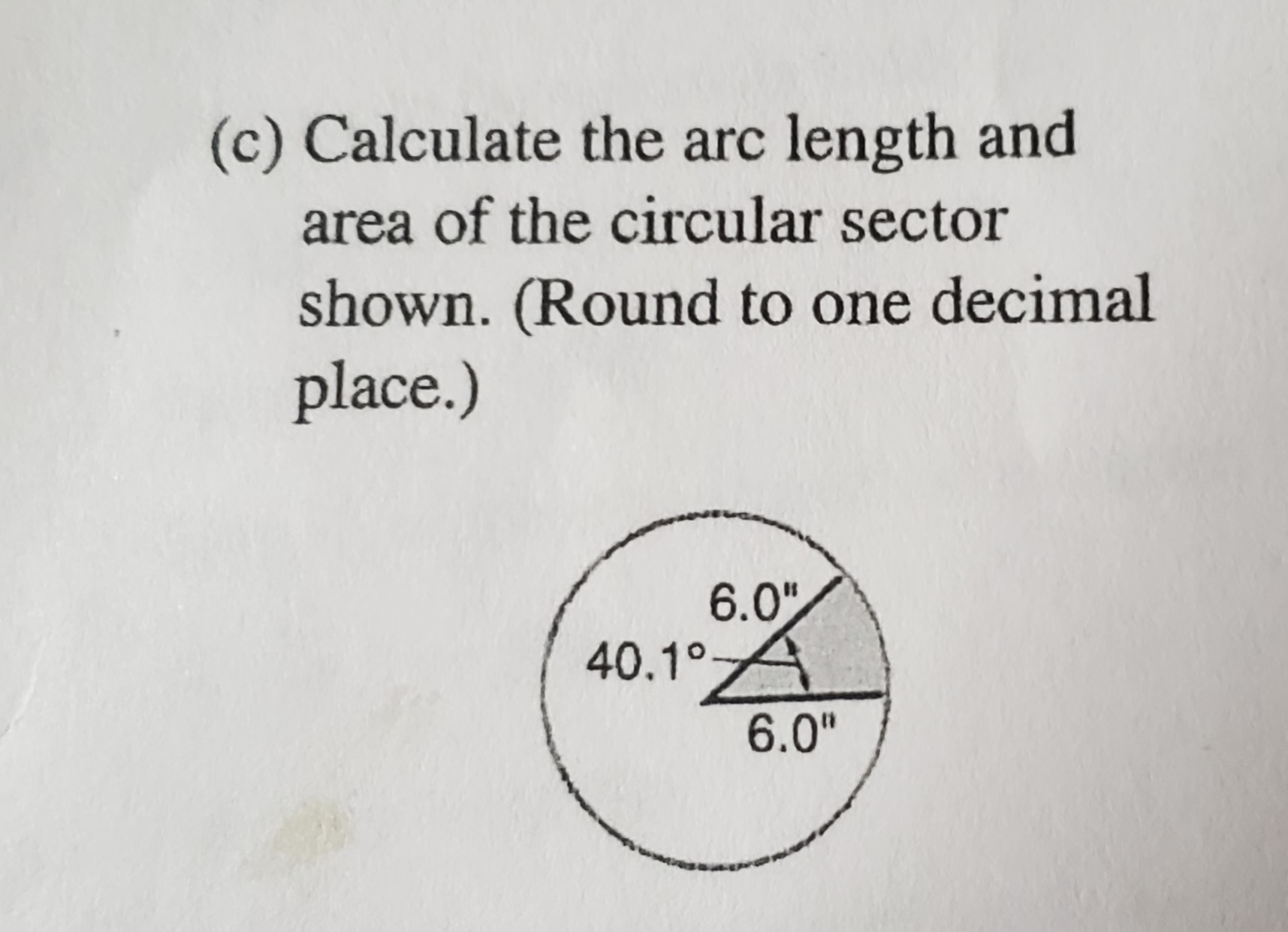 Answered C Calculate The Arc Length And Area