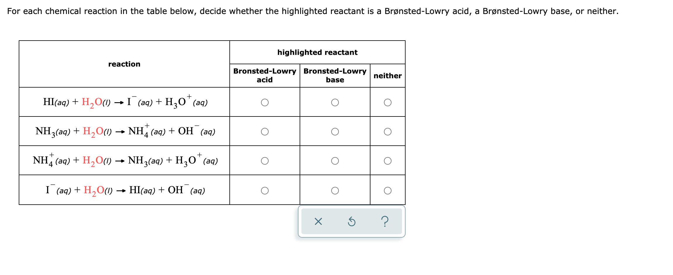 Answered For Each Chemical Reaction In The Table