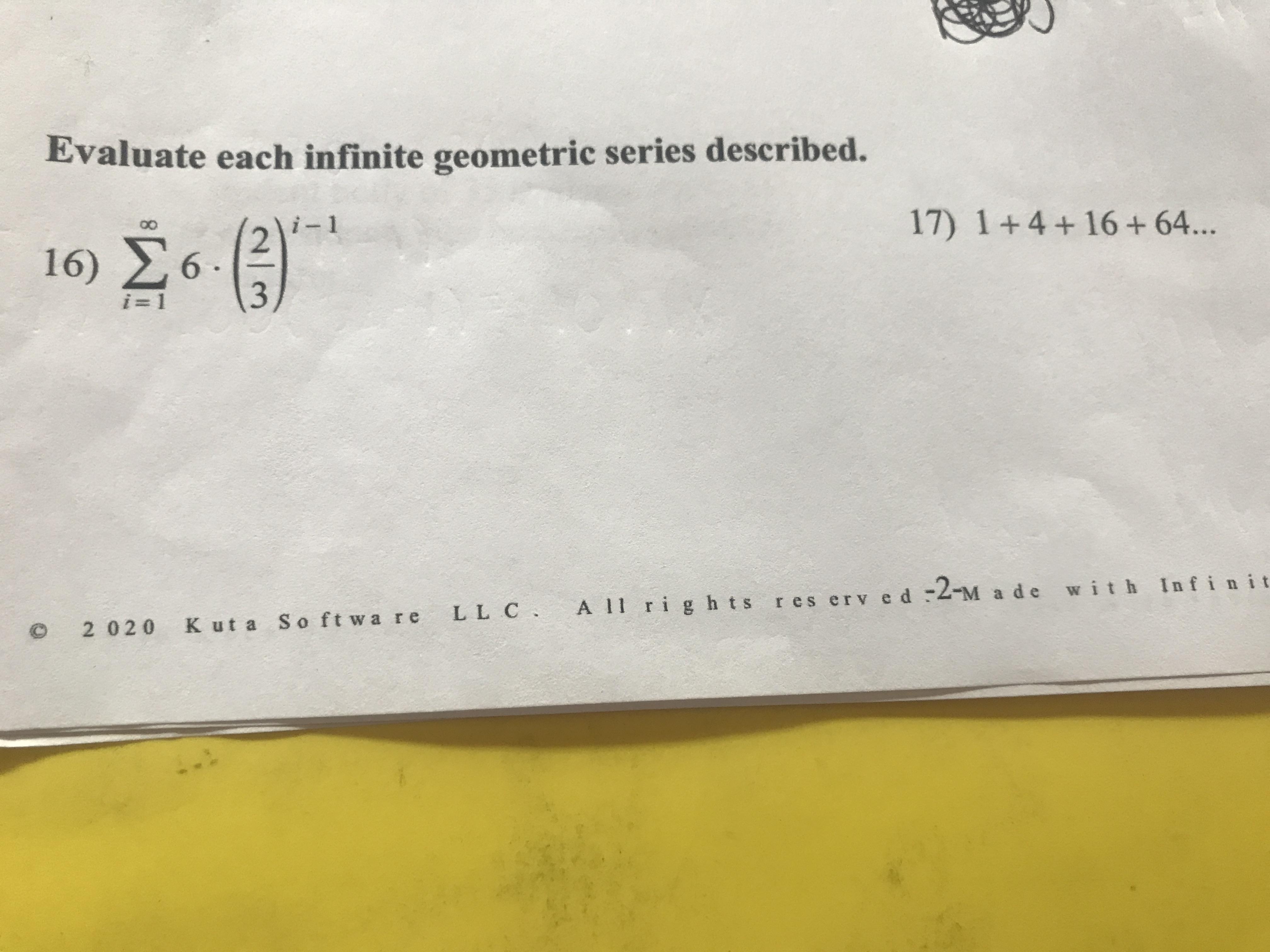 Answered Evaluate Each Infinite Geometric Series