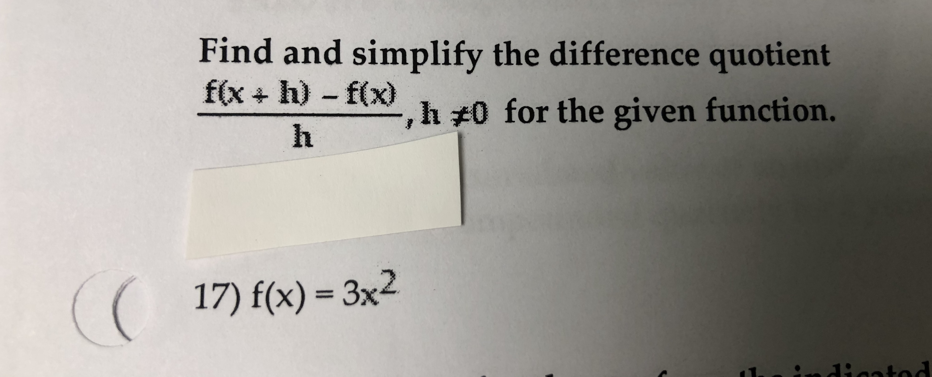 Simplify The Difference Quotient For The Given Function