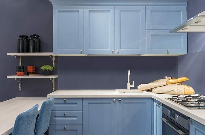 cuisine bleue planche de styles