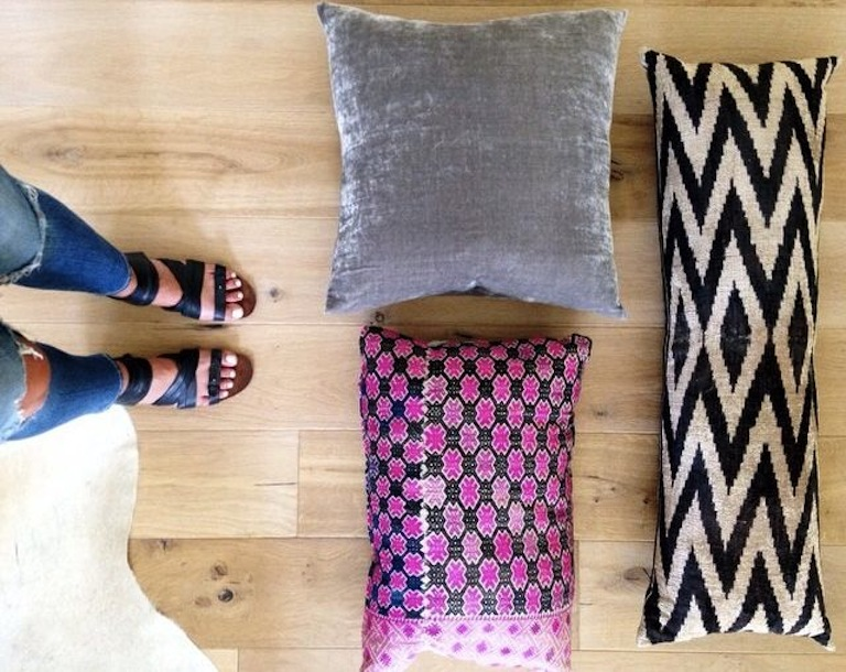 Chevron Pink and black and white pillows