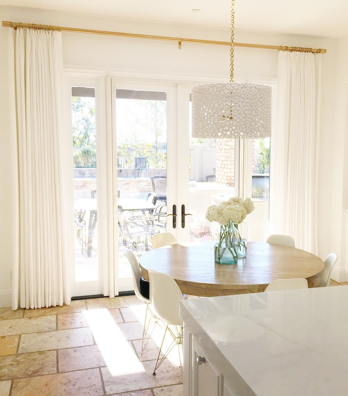 white drapes with gold hardware becki owens