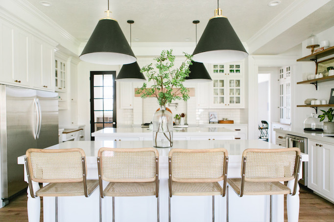 Black Cone Pendants Kitchen