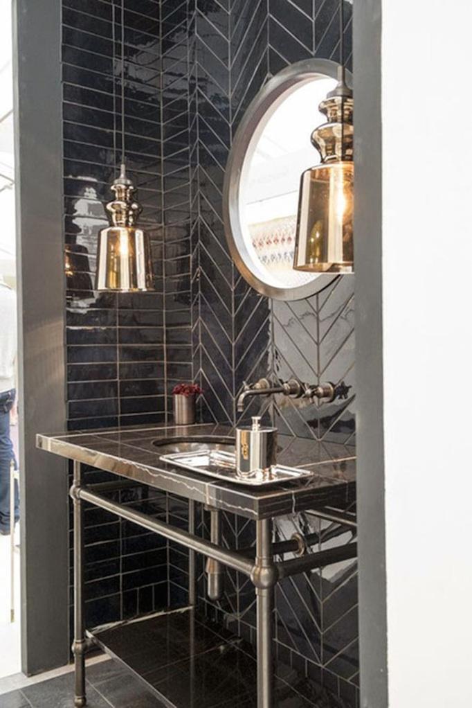 black herringbone glazed tiled bathroom