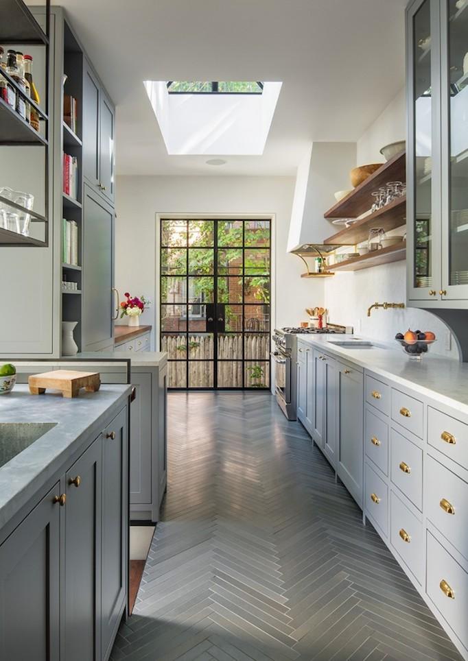 gray brass and steel kitchen