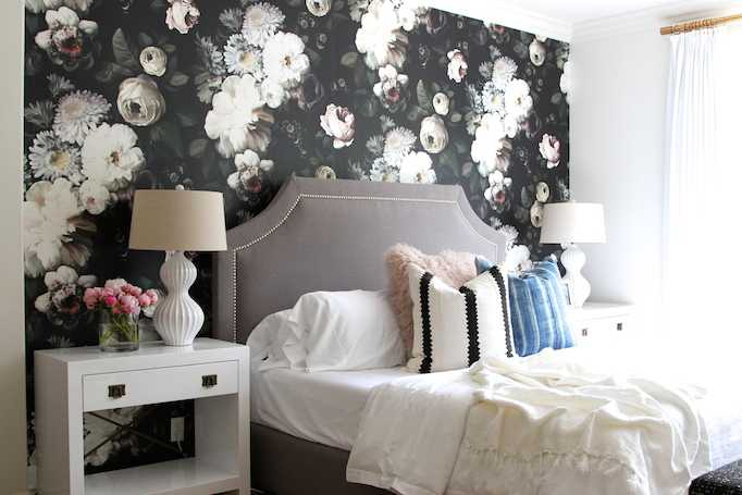 dark floral wallpaper bedroom