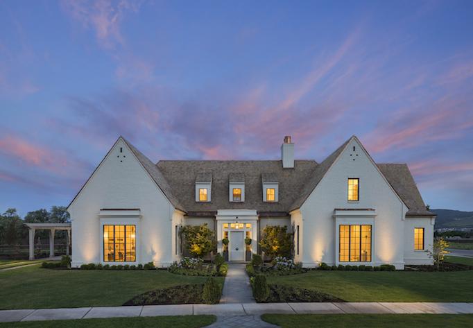 classical modern white brick home exterior
