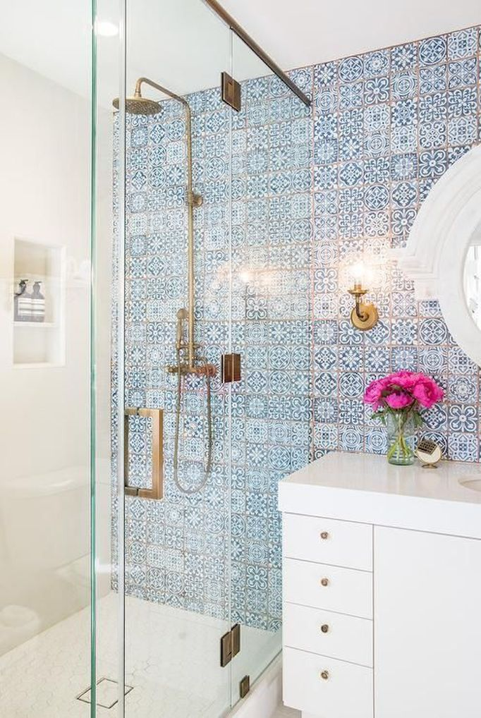 Blue and White Patterned Tile Bathroom