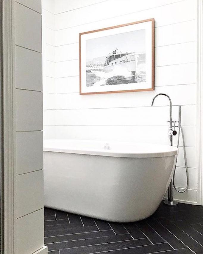 BECKI OWENS Black Herringbone White Shiplap Bathroom