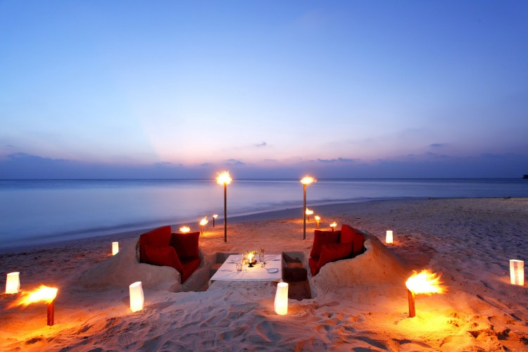 an adults only dinner on the beach.