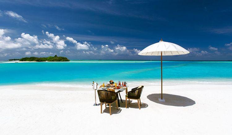 Beachfront dining table