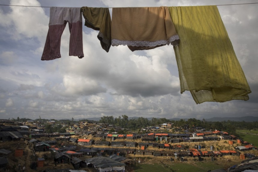 BALUKHALI, BANGLADESH - OCTOBER 2: Laundry is seen hanging overlooking the sprawling refugee camp on October 2, 2017 in Balukhali, Cox's Bazar, Bangladesh. Over a half a million Rohingya refugees have fled into Bangladesh since late August during the outbreak of violence in Rakhine state causing a humanitarian crisis in the region with continued challenges for aid agencies. (Photo by Paula Bronstein/Getty Images)