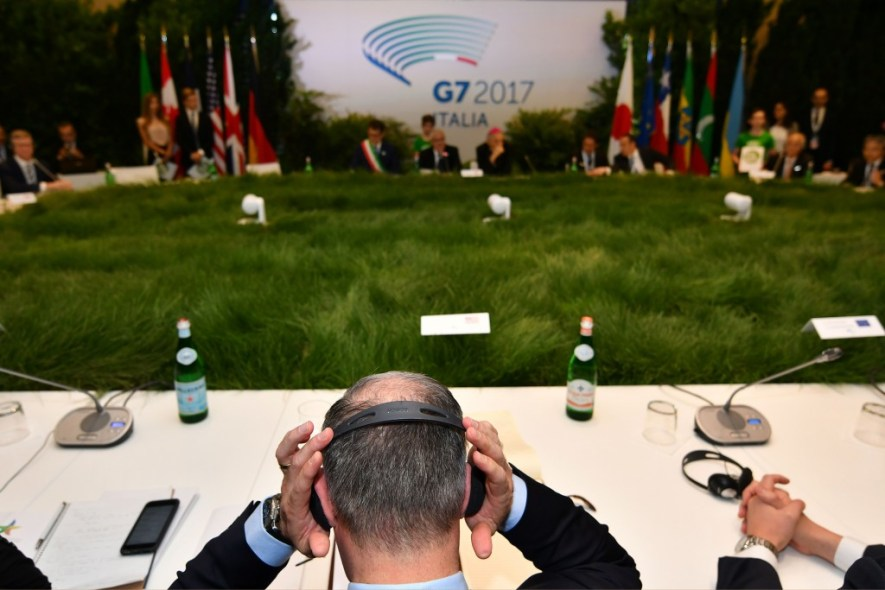 United States Administrator of the Environmental Protection Agency (EPA) Scott Pruitt adjusts his headset during a meeting at the G7 Environment summit in Bologna on June 11, 2017.<br /> G7 environment chiefs are meeting in Italy for potentially difficult talks 10 days after Donald Trump sparked a rift with US partners by pulling out of the Paris climate change accord. / AFP PHOTO / Alberto PIZZOLI (Photo credit should read ALBERTO PIZZOLI/AFP/Getty Images)