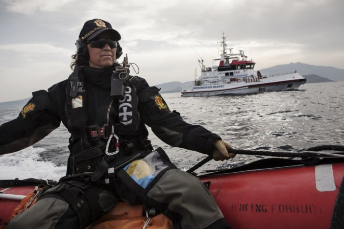 """AT SEA - FEBRUARY 29: Norwegian Redningsselskapet rescue boat """"Peter Henry Von Koss"""" conducts a Frontex sea patrol off the northern shores of Lesbos island (in background) on February 29, 2016. Norwegian police officer Anne Marie Bruu rides on a launch boat during the patrol. Lesbos, the Greek vacation island in the Aegean Sea between Turkey and Greece, faces massive refugee flows from the Middle East countries. (Photo by Etienne De Malglaive/Getty Images)"""