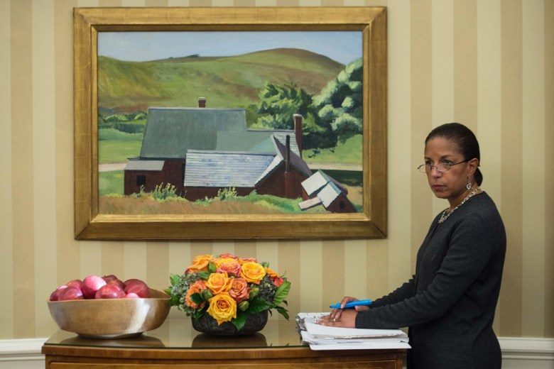 US National Security Advisor Susan Rice listens to Indonesian President Joko Widodo and US President Barack Obama speak to the press following talks in the Oval Office at the White House in Washington, DC, on October 26, 2015.   AFP PHOTO/NICHOLAS KAMM        (Photo credit should read NICHOLAS KAMM/AFP/Getty Images)
