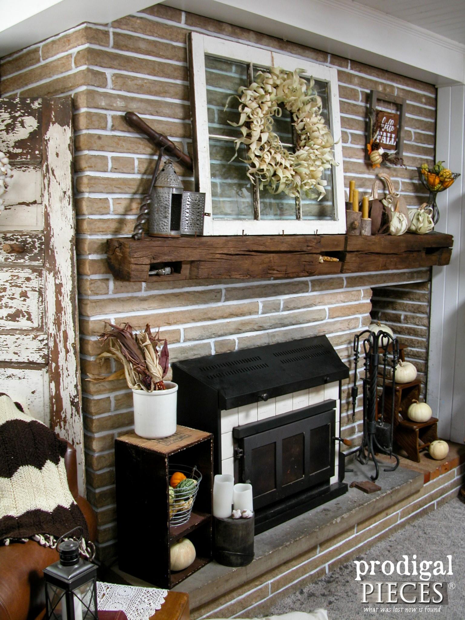 Corn Husk Pumpkins Amp Wreath Fireplace Makeover