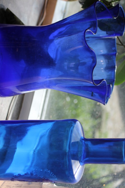 Blue bottles on my window sill