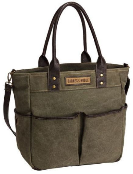 Barnes & Noble Olive Utility Book Tote with Pockets (12.75