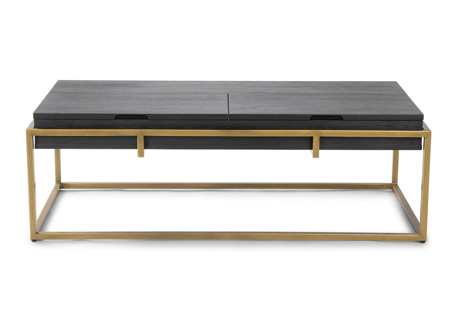 article oscuro storage coffee table black and brass