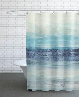 greyscale landscape shower curtain