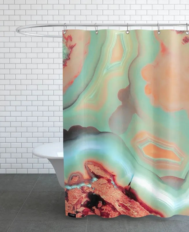 living coral blue agate shower curtain