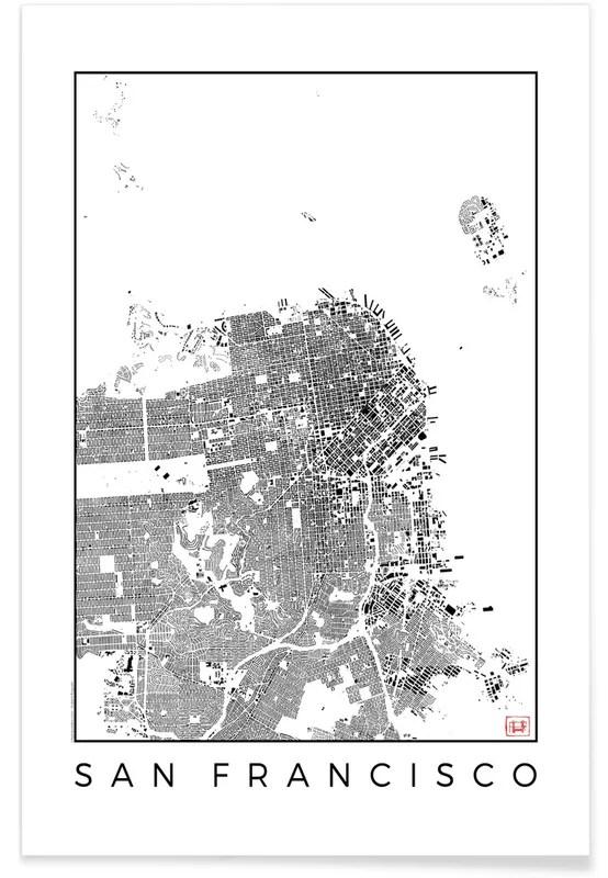 san francisco map black poster