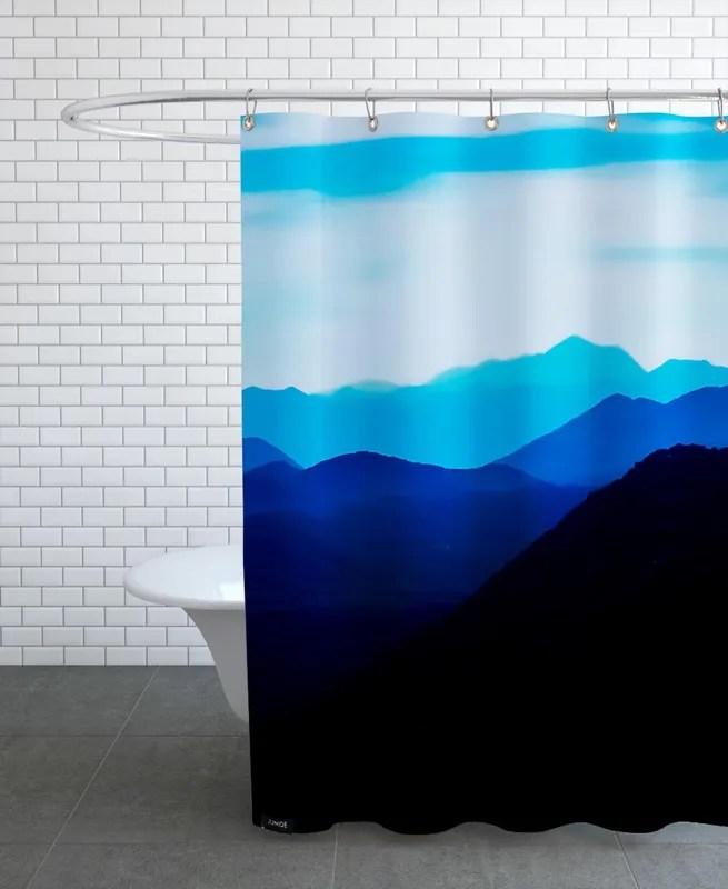 blue mountain range shower curtain