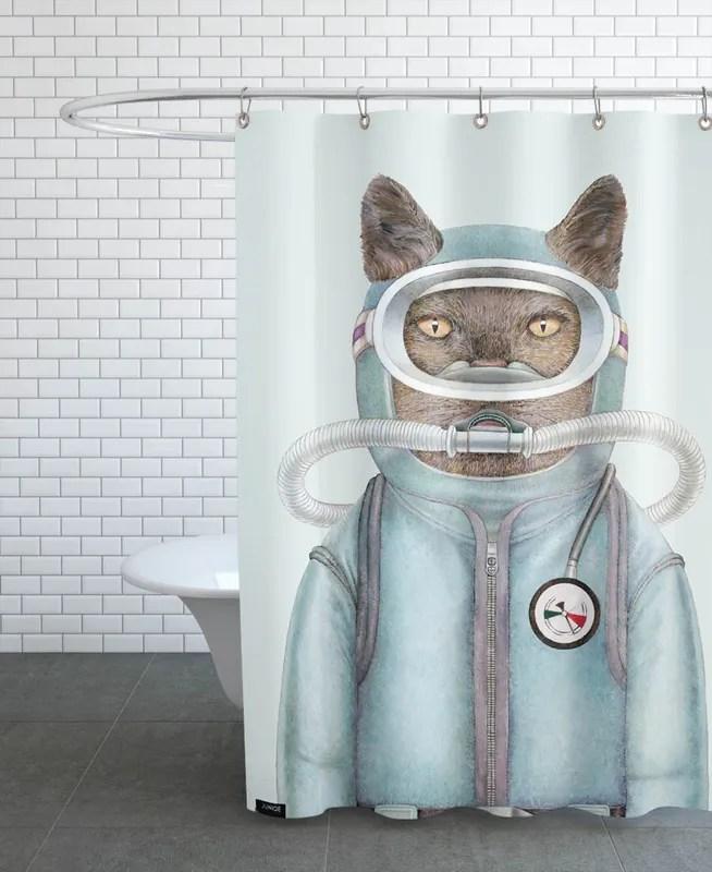 scuba cat shower curtain