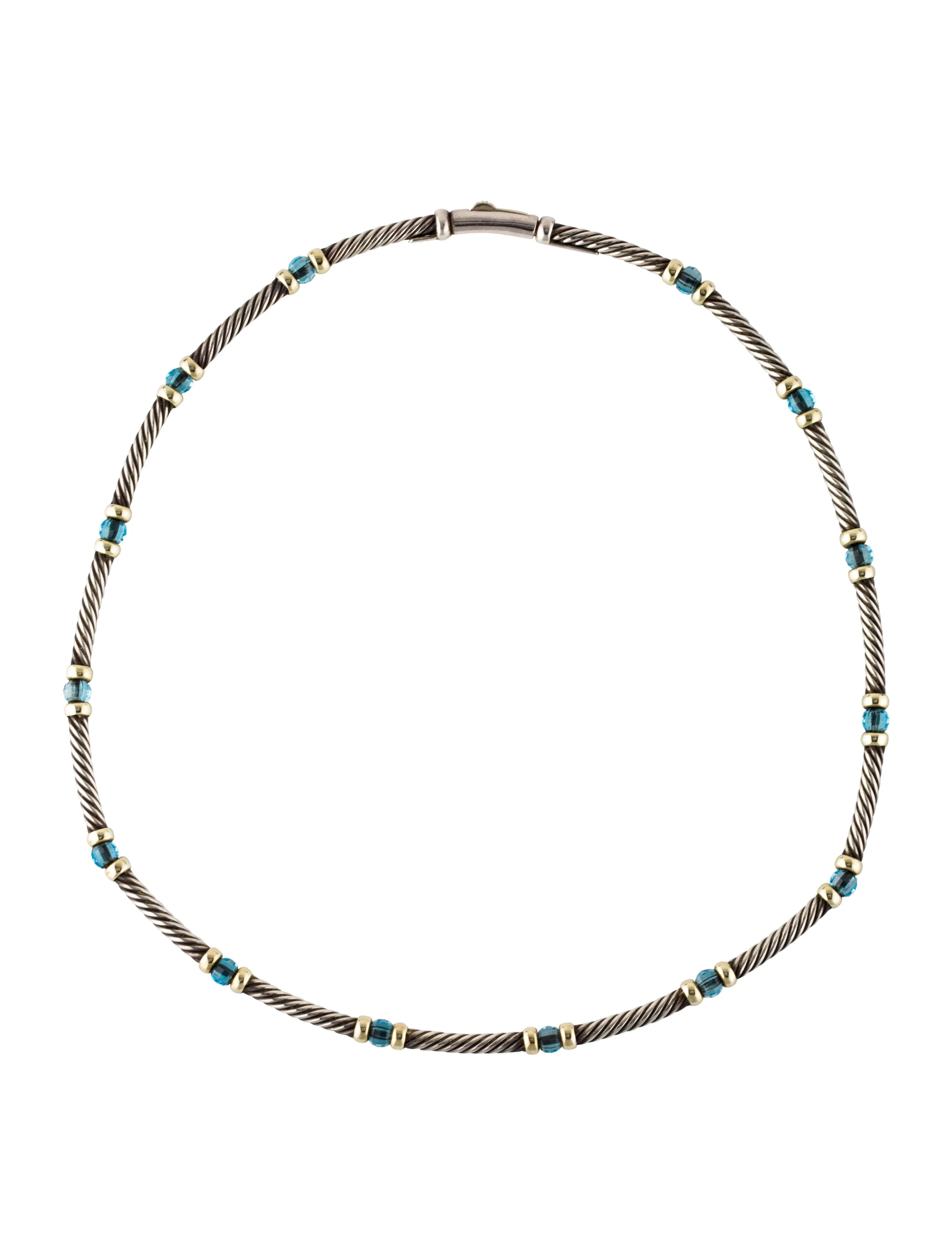 David Yurman Two Tone Blue Topaz Station Cable Necklace
