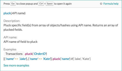 pluck formula description