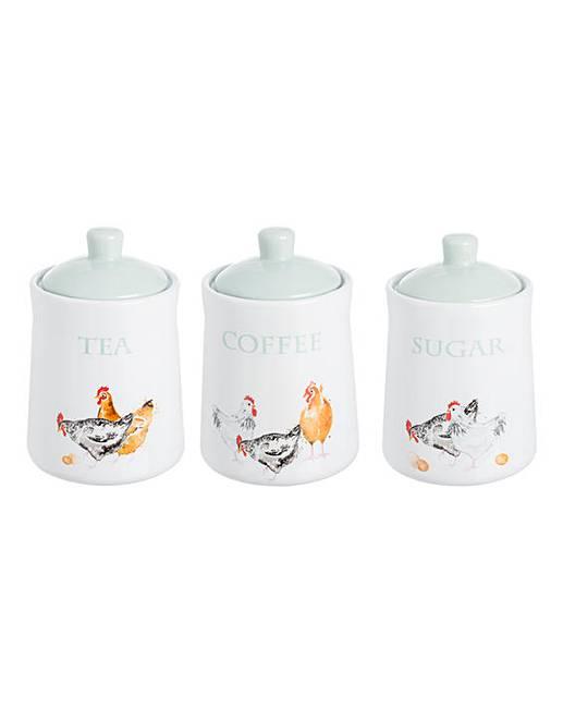 PampK Farmhouse Kitchen Storage Jars Set 3 Fifty Plus