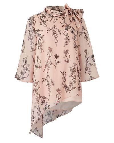 Fashion World Pink Print Boat Neck Tie Blouse