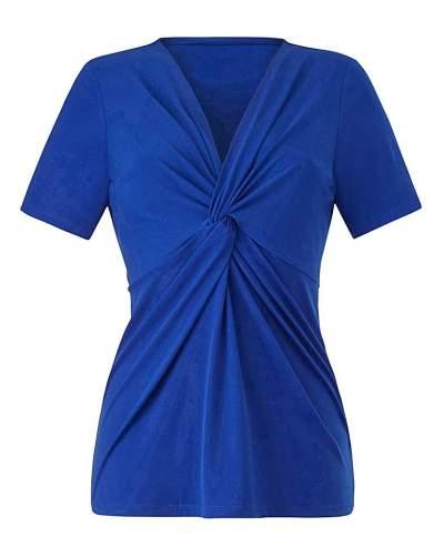 Fashion World Cobalt Twist Knot Jersey Top