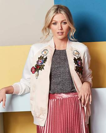 Fashion World Embroidered Satin Bomber BLUSH