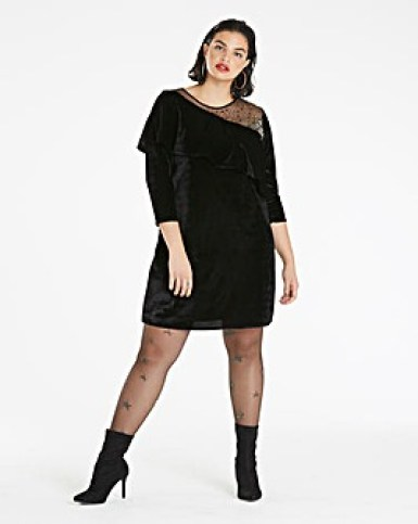 Black Velvet Embellished Shoulder Dress