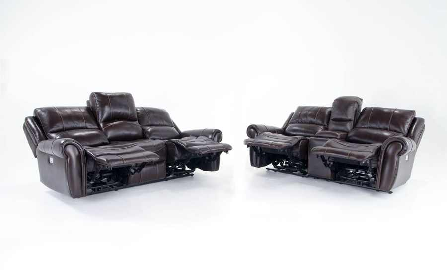 Bennett Leather Power Reclining Sofa and Power Reclining Console     Bennett Leather Power Reclining Sofa and Power Reclining Console Loveseat
