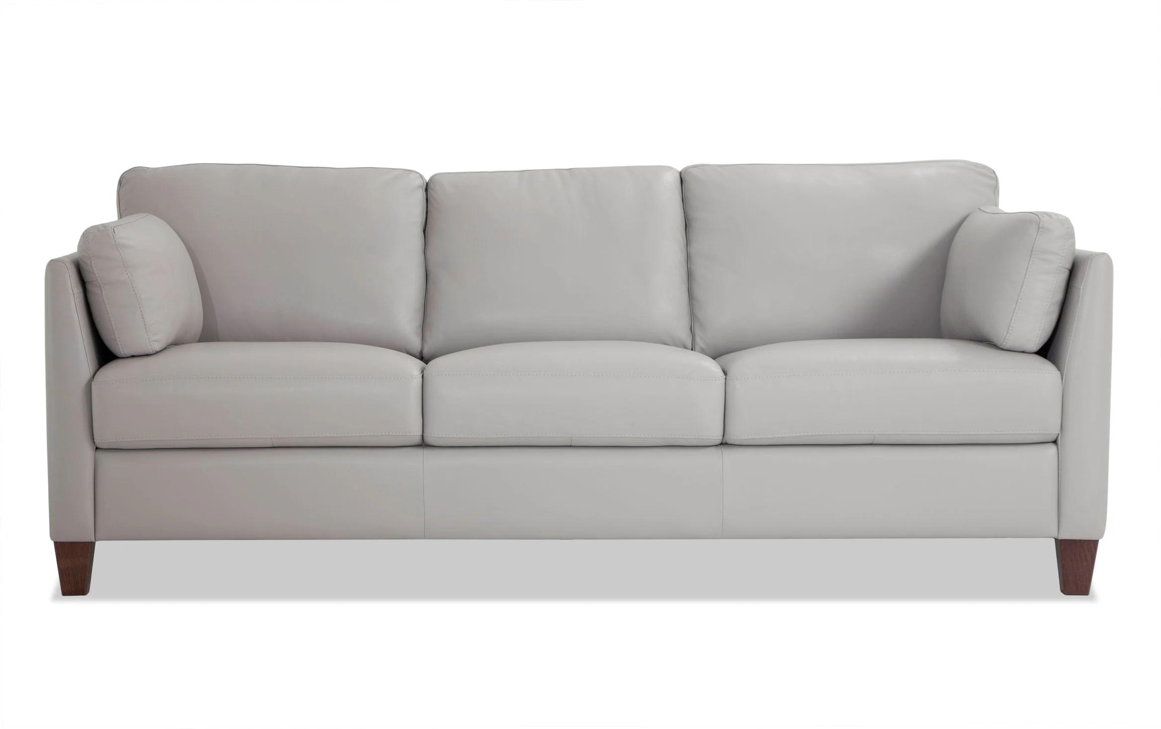 antonio light gray leather sofa