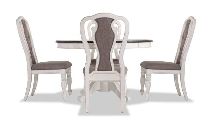 Scarlett Round 5 Piece Dining Set With Splat Back Side Chairs Bob S Discount Furniture