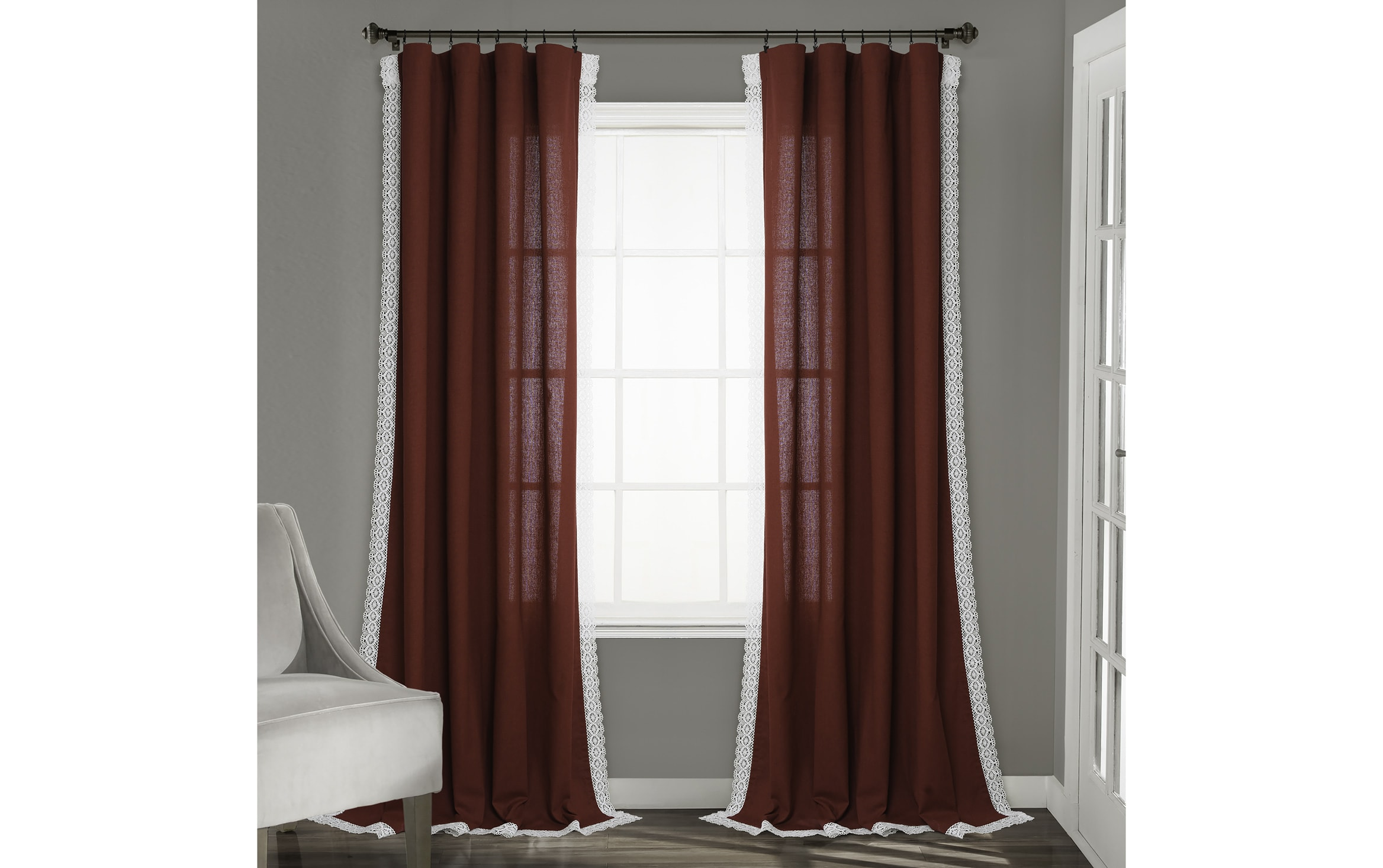 set of 2 rosie 54 x 84 red curtain panels
