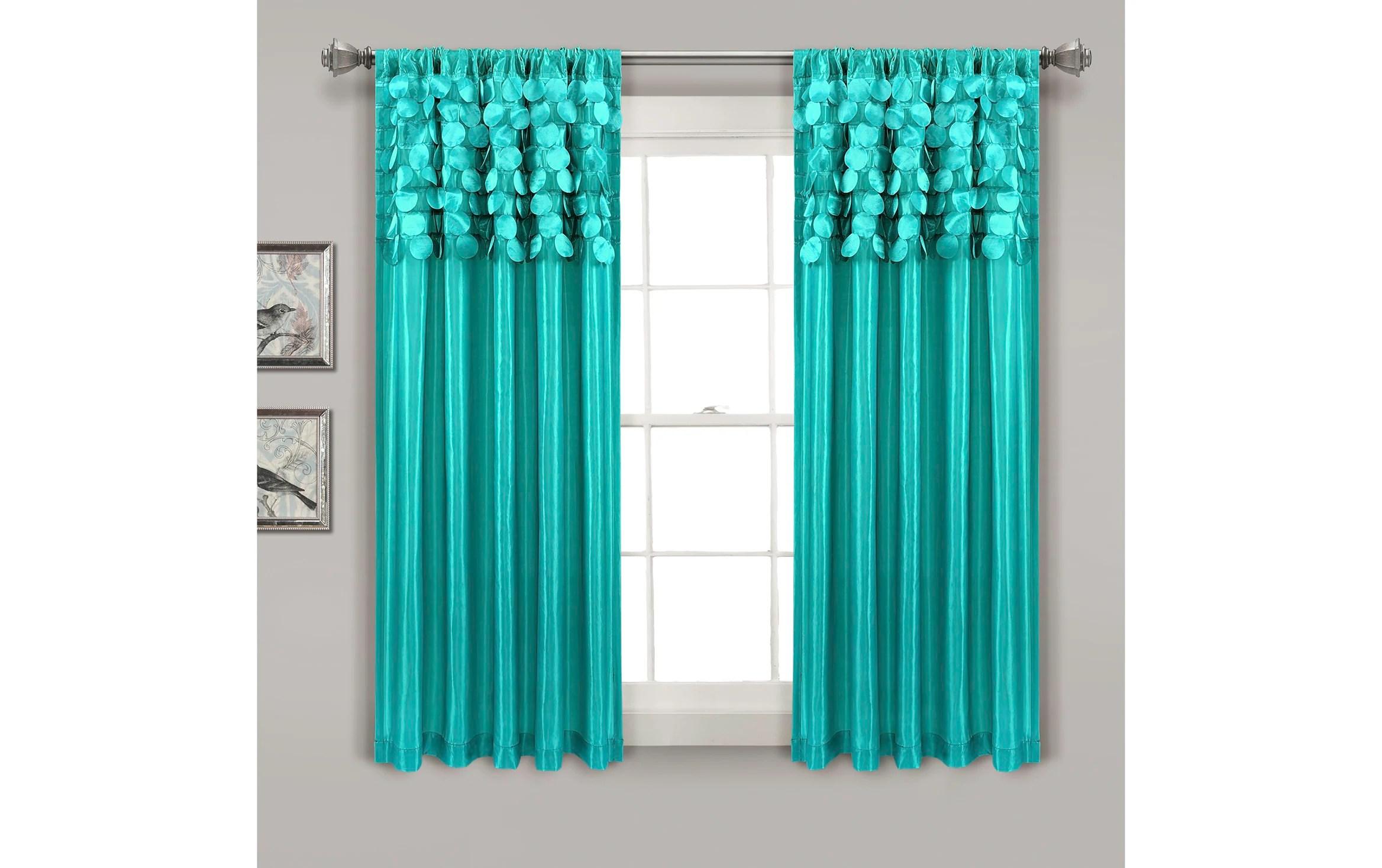 set of 2 circles 54 x 63 teal curtain panels