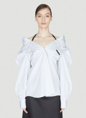 Prada Off-The-Shoulder Shirt in Blue