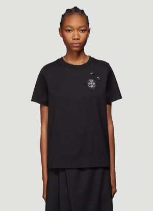 4 Moncler Simone Rocha Contrast Embellished Cotton T-Shirt in Black
