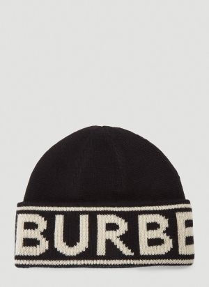 Burberry Logo Intarsia Beanie Hat in Black
