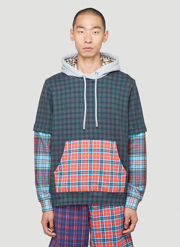 Burberry Hallows Checked Hooded Sweatshirt in Green