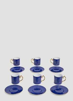 L'Objet Set-of-Six Lapis Espresso Cup and Saucers in Blue