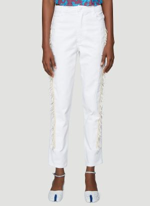 Eckhaus Latta Beaded Jeans in White