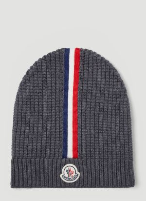 Moncler Waffle-Knit Beanie Hat in Grey