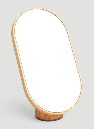 Tre Product Woodturn Mirror in Brown