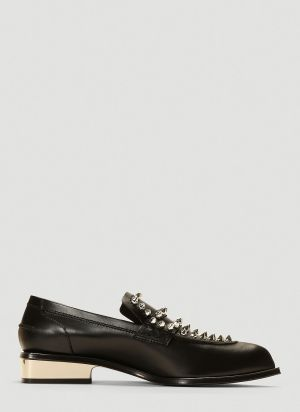 Alexander McQueen Stud-Embellished Leather Loafers in Black